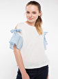 DeFacto Kol Bağlama Detaylı Bluz Beyaz